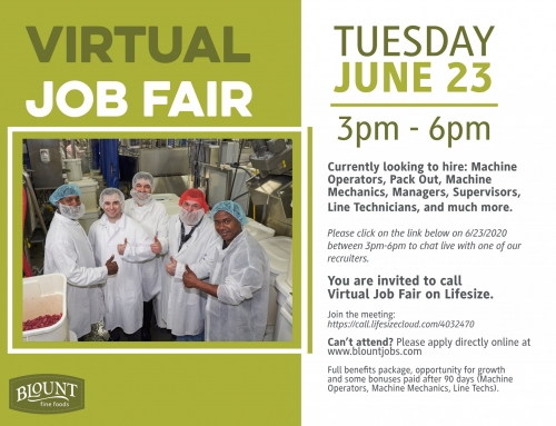 Virtual Job Fair by Blount Fine Foods